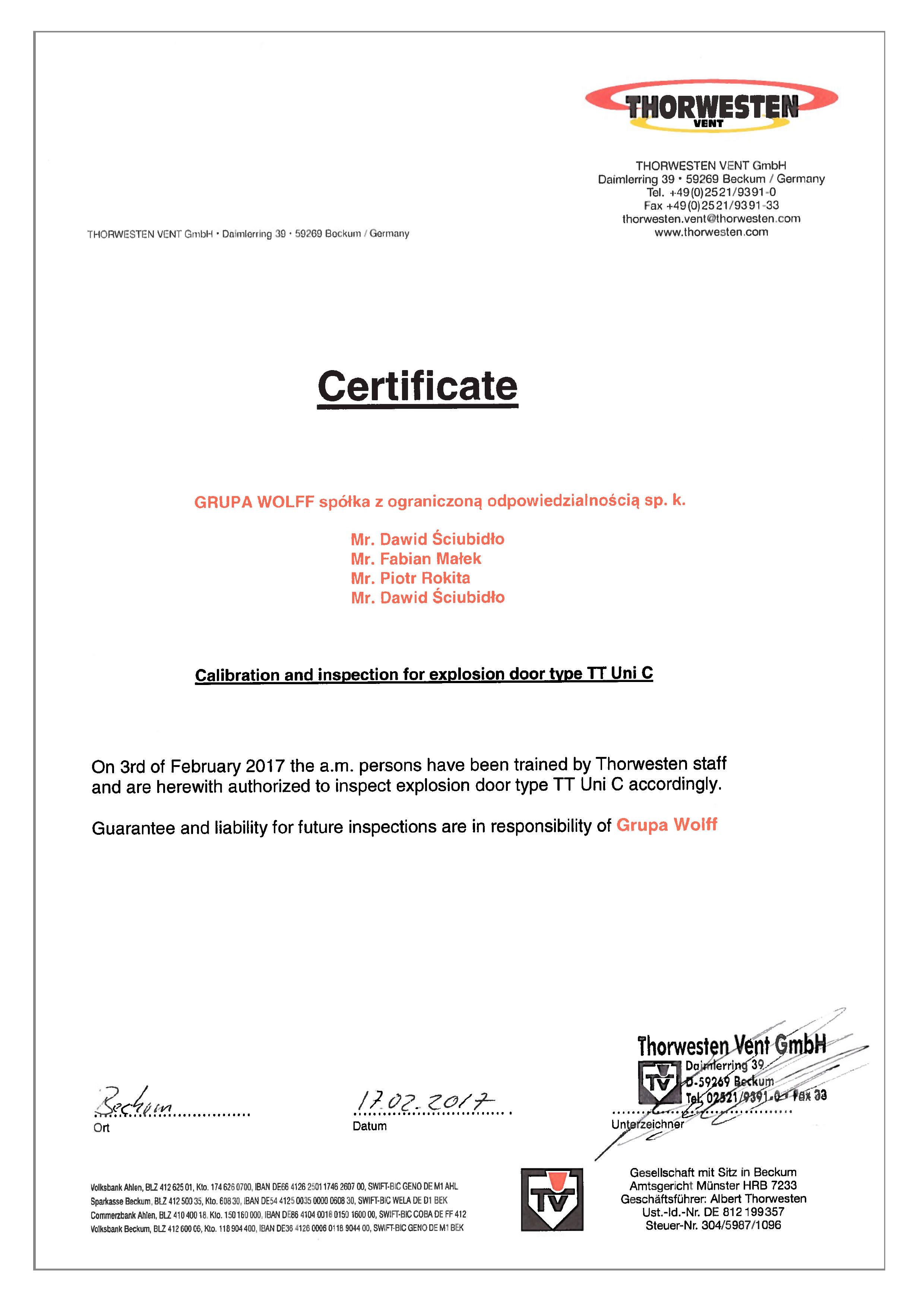 service certificate for new type of explosion doors wolff group