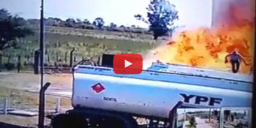 VIDEO – road tanker fire – probable cause was electrostatic discharge