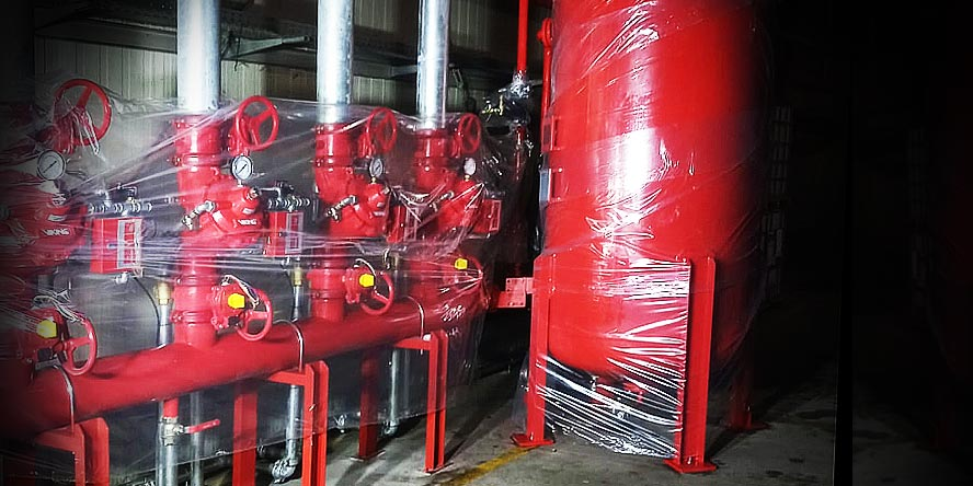 Flood installation of a foam based fire extinguishing system